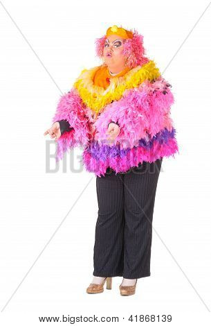 Cheerful Man, Drag Queen, In A Female Suit