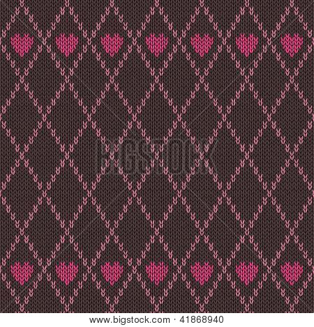 Style Seamless Pink Brown Color Knitted Pattern