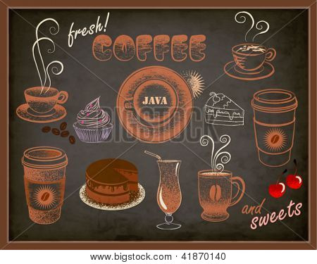 Coffee and Sweets Ads - Blackboard with a set of coffee and sweets advertisements, pastel doodle style