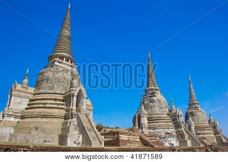 Templo de Wat Phra Si Sanphet de Ayutthaya histórico, Tailandia