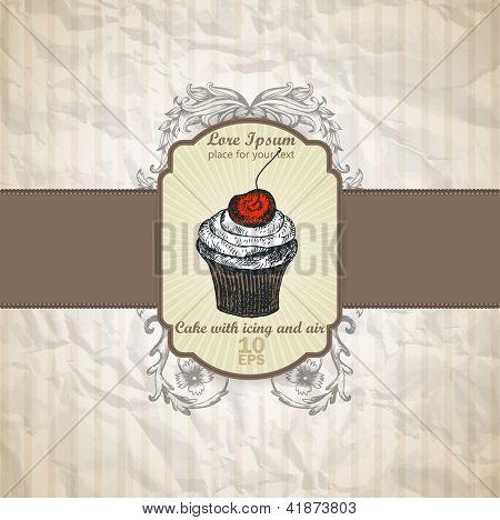 cake menu, confection in vintage, retro style