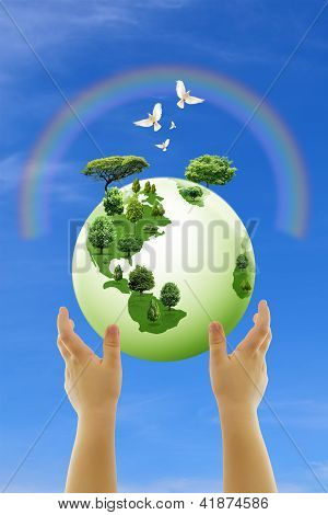 Globe And Child Hands Against Blue Sky, Ecology Concept