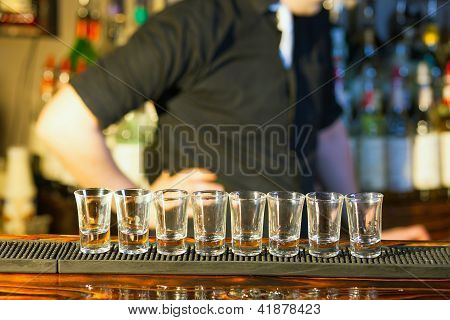 Barman Making  Drink Shots