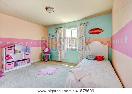 Baby Girl Bedroom With White Bed.