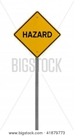 Isolated Yellow driving warning sign hazard