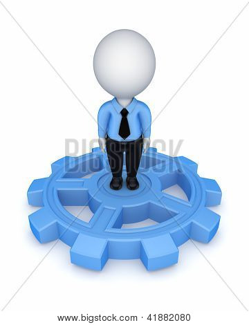 3d small person on a gear.