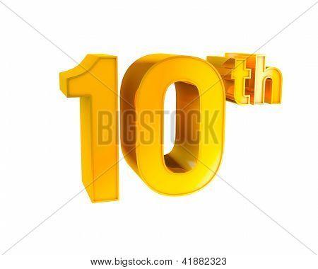 Gold Alphabet Anniversary 10