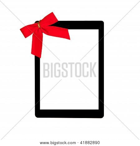 Tablet Touch Computer Gadget With Isolated Screen And A Red Bow
