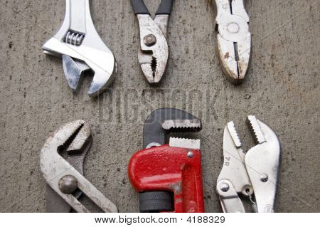 6 Wrenches Arranged On Concrete 2
