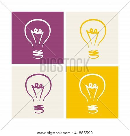 Light bulb vector icon symbol on colorful backgrounds - hand drawn doodle set isolated on white