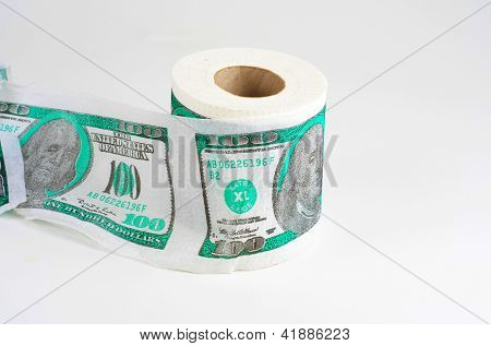 Money toilet paper on white with usd