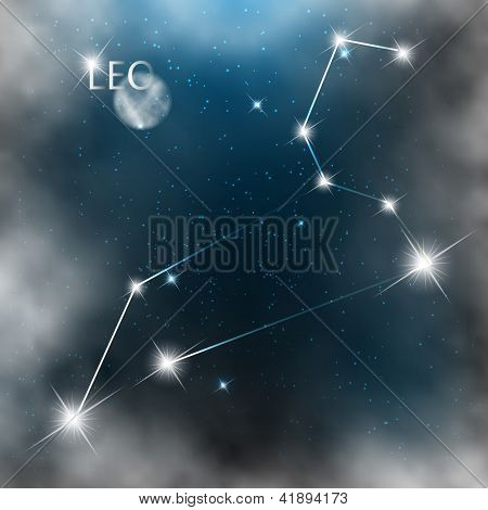 Constellation sign bright stars in cosmos with moon and clouds.