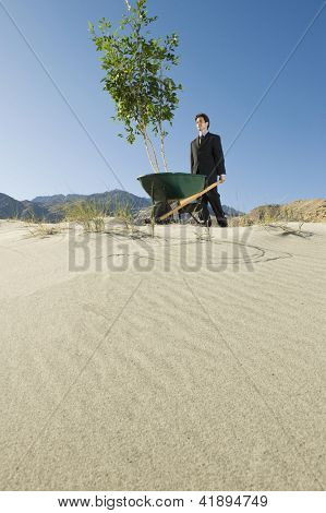 Low angle view of a businessman walking with wheelbarrow in desert