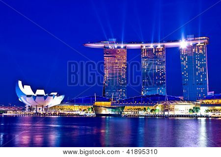 SINGAPORE - FEBRUARY 1, 2013:Marina Bay Sands, designed by Moshe Safdie, integrated resort casino ,shopping center in Singapore.Most expensive standalone casino property at S$8 billion.Feb 1st, 2013