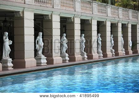 Swimming pool and statues in Coral Gables, FL