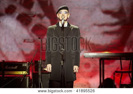 MOSCOW - JAN 23: Actor Mikhail Boyarsky performs on stage at Taganka Theater during Award ceremony of Prize named after Vladimir Vysotsky Own Track, Jan 23, 2012, Moscow, Russia.