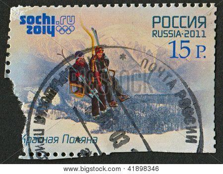 RUSSIA - CIRCA 2011: A stamp printed in Russia shows image of the Krasnaya Polyana in Krasnodar Krai, Russia, circa 2011.