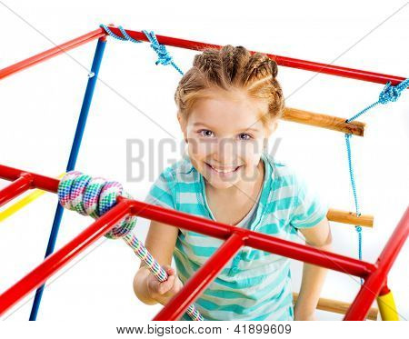 playground with little girl on a white background