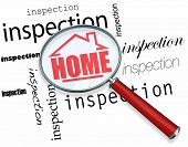 stock photo of inspection  - A magnifying glass hovering over the words Inspection - JPG