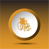 Invalid chair. Plastic button. Raster illustration.