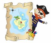 picture of crossed pistols  - a illustration of pirate with treasure map - JPG