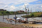 foto of pontoon boat  - boats moored on the River Clyde in Glasgow - JPG