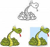 picture of anaconda  - Happy Green Snake Cartoon Mascot Characters Collection - JPG