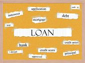 picture of pegboard  - Loan Corkboard Word Concept with great terms such as rate interest debt cash and more - JPG
