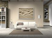 stock photo of stone house  - FICTITIOUS country style living room with white sofa - JPG