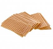 slices of wafer crispbread isolated on white background