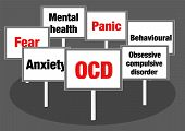 stock photo of cognitive  - Obsessive compulsive disorder OCD concept illustration with signs and text - JPG