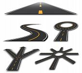 picture of long winding road  - Sections of road with roundabouts and Road Elements - JPG
