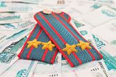 Shoulder Strap Of Russian Police On Money Background