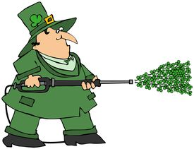 picture of pressure-wash  - This illustration depicts an Irish Leprechaun using a pressure washer with clovers coming out - JPG