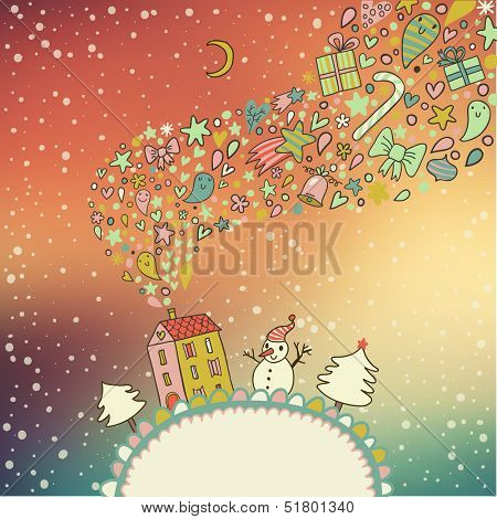 Northern lights concept card. Ideal winter holiday background with bright sky, house, trees and snowman in vector. Christmas and new year illustrations in cartoon style