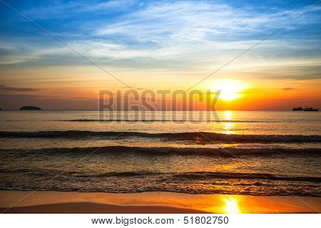 Beautiful sunset on the sea beach.