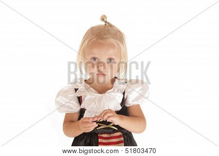 Cute Blonde With Blue Eyes In Simple Pirate Costume