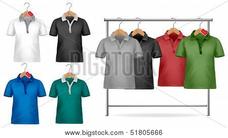 White And Colorful T-shirt Design Template. Clothes Hanger With Shirts With Price Tags. Vector Illus