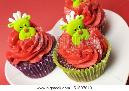 Christmas Cupcakes With Fun And Quirky Reindeer Face Toppings
