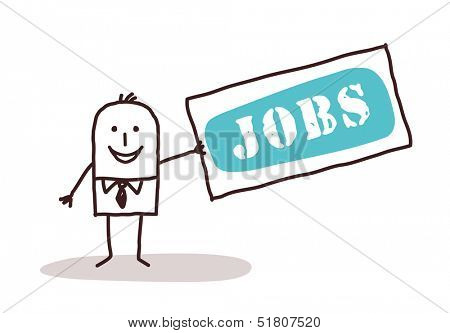 businessman with jobs sign