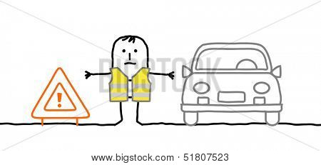 Hand drawn cartoon characters - man with safety kit stopped on the road