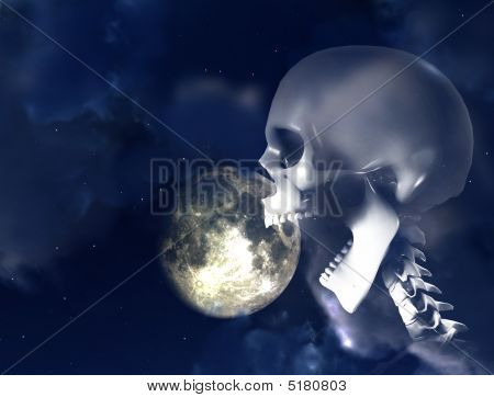 Shouting Skeleton And Nightime Sky