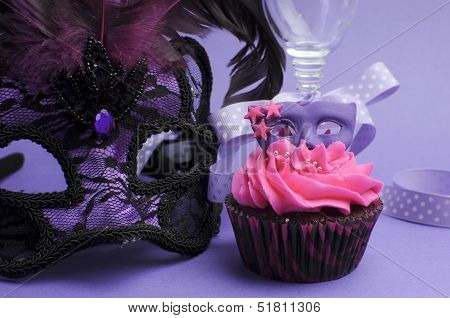 Pink And Purple Masquerade Masks Decorated Party Cupcake With Pink Frosting For Teenage, Birthday, N