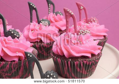Female High Heel Shoes Decorated Pink And Black Red Velvet Cupcakes With High Heel Shoes For Teenage