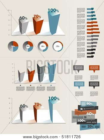 Infographics elements. Folder with diagrams, speech bubbles and graphs.