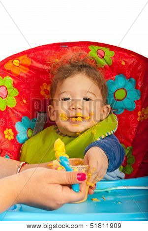 Messy Baby With Puree