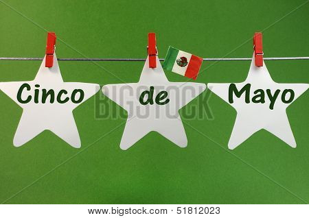 Celebrate Cinco De May Holiday On May 5 With Cinco De Mayo Message Greeting Written Across White Sta