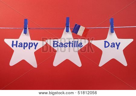 France's National Holiday, On 14Th Of July, With Happy Bastille Day Greeting Written Across White