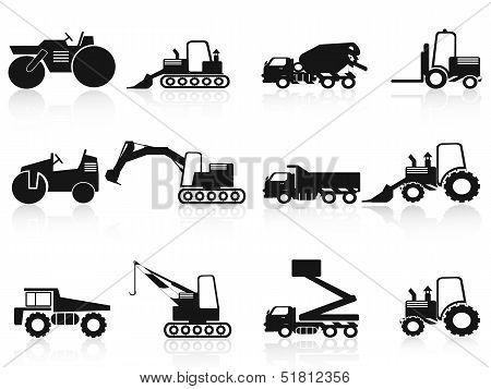 Black Construction Vehicles Icons Set