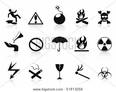 Black Warning Icons Set